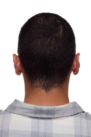 clonacion: Parte posterior de la cabeza y del cuello, de la marca con letras grabadas como en productos de cuero, clonaci�n de concepto del hombre