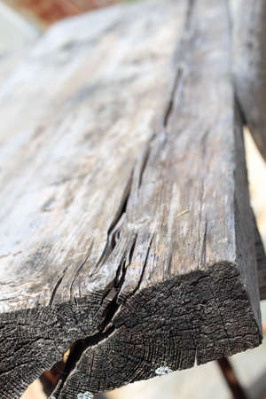 A cracked piece of old weathered wood