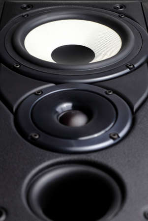 Front view of big loudspeaker with two drivers and bass reflex vent Stock Photo