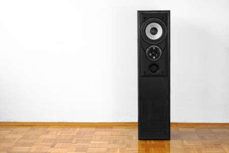 Single floor-standing loudspeaker on hardwood against white wall photo