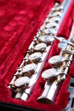 flute key: Flute, musical instrument in velvet padded case