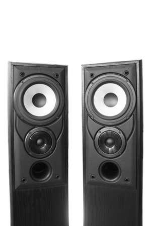 Pair of black wooden loudspeakers Stock Photo