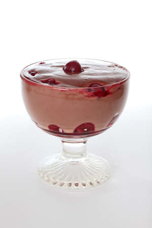 Bowl of homemade chocolate flavor pudding with sour cherries