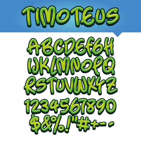71050017b Vector of modern comical font and alphabet, green, comics style alphabet  collection set
