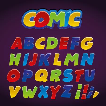 Comic alphabet set. Letters, Funny Colorful Comics Kid Font.
