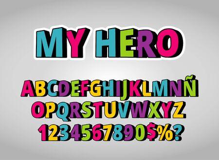 """My Hero"" 3D Alphabet. Colorful Comics Retro Typeface. Vector Illustration - Vector - Vector"