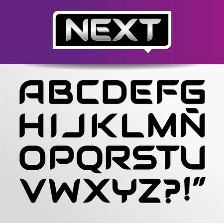 Alfabeto di carattere grassetto moderno ed elegante alla moda con set di maiuscole. Illustrazione vettoriale