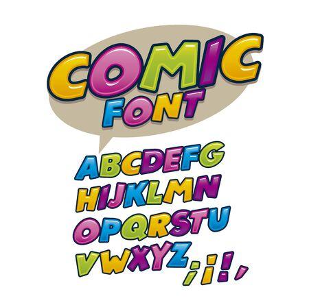 Vector of modern comic font and alphabet, comics style alphabet colorful collection set Çizim
