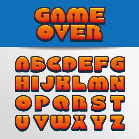 Game Over, a vector illustration, art style alphabet, font of Game Over text.