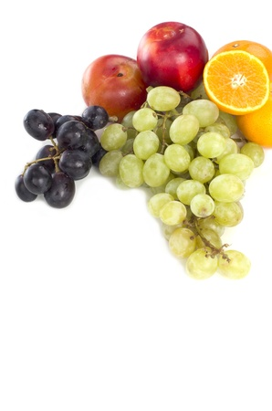 The various fruits in different colors good for health isolated with white background Stock Photo