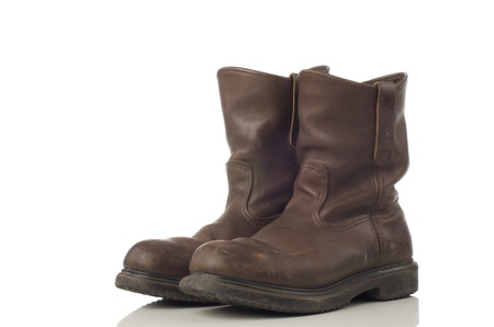 safety shoes: A pair of brown safety shoes Stock Photo