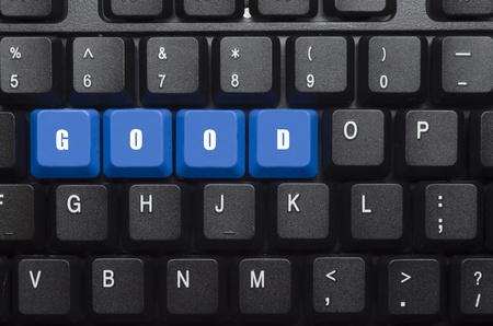 good word on blue and black keyboard button photo