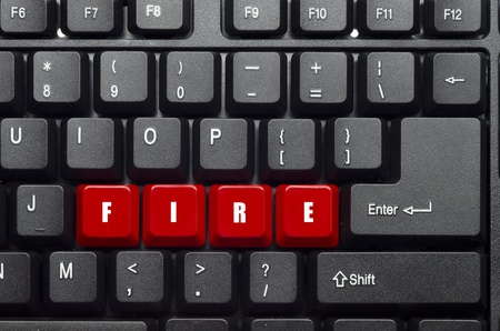 fire word on red and black keyboard button photo