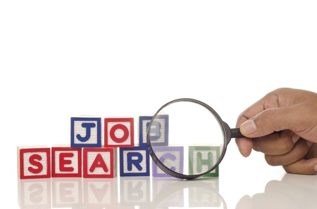 job search word blocks with magnifying glass isolated on white background
