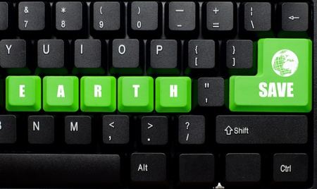 save earth words on green and black keyboard button photo