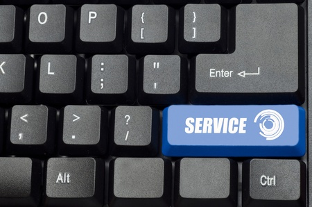 service word on blue and black keyboard button photo