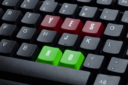 yes and no words on red and green keyboard button photo