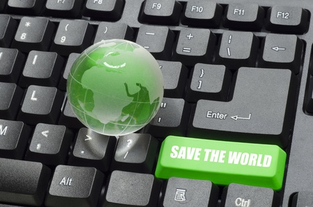save the world words and globe on green and black keyboard button photo