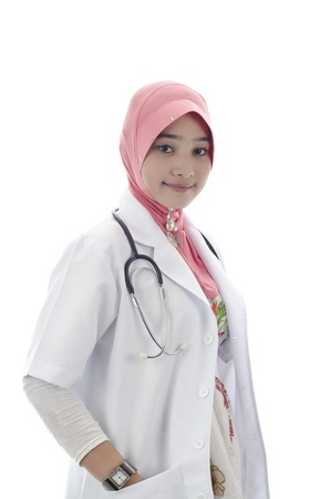 beautiful young muslim woman doctor with head scarf and stethoscope isolated on white background