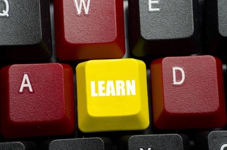 leren woord op geel toetsenbordknoop