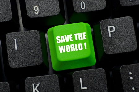 save the world words on green and black keyboard button photo