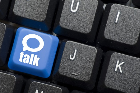 talk word with icon on blue keyboard button