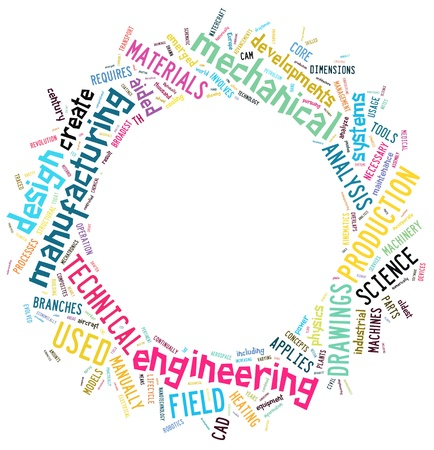 mechanical: Techniek info-text graphics en de rangschikking woord wolken begrip Stockfoto