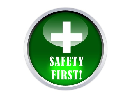graphic glossy safety first button photo