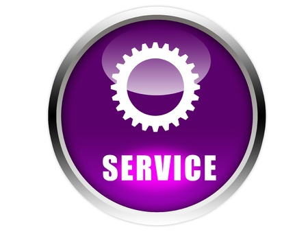 multifunction: service word and symbol on purple glossy button graphic