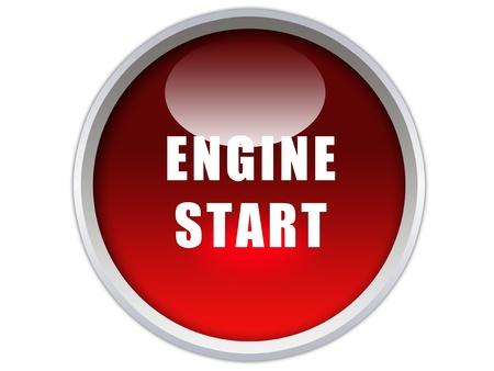 Słowo rozruchu silnika na czerwonym błyszczący przycisk grafiki Zdjęcie Seryjne - 12603111