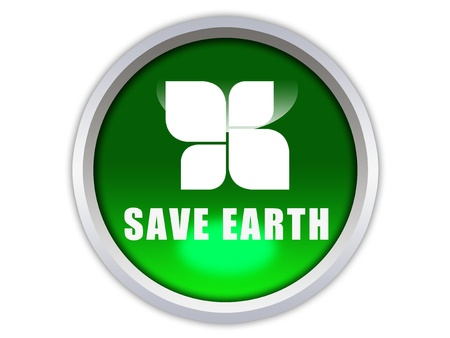 save earth words with icon on green glossy button graphic