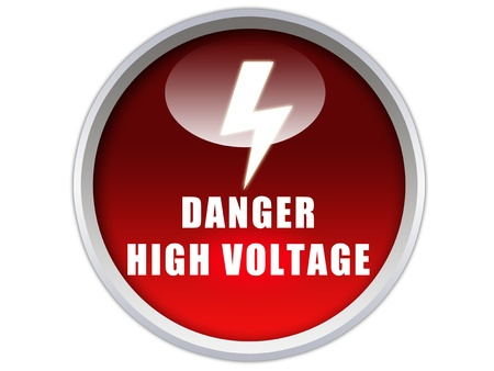 danger high voltage word with sigange on glossy red button graphic photo