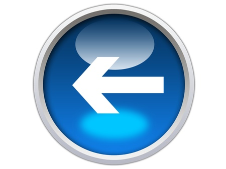 left arrow direction on blue glossy button graphic Stock Photo - 12603143