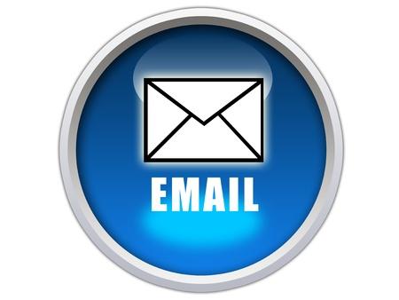 e-mail woord met pictogram op blauwe glanzende knop grafische Stockfoto