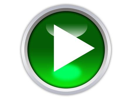 groene glossy knop met witte driehoek staat naar links geà ¯ soleerd op witte achtergrond