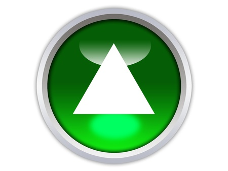 green glossy button with white triangle turned up isolated over white background photo