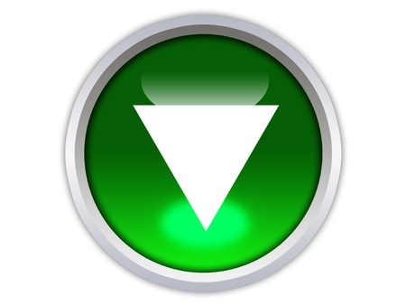 green glossy button with white triangle turned down isolated over white background Stock Photo - 12603059