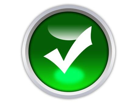 groene glanzend knop met witte vinkje geïsoleerd op witte achtergrond Stockfoto