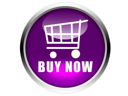 buy now: purple glossy button with white trolley iconand buy now word isolated over white background Stock Photo