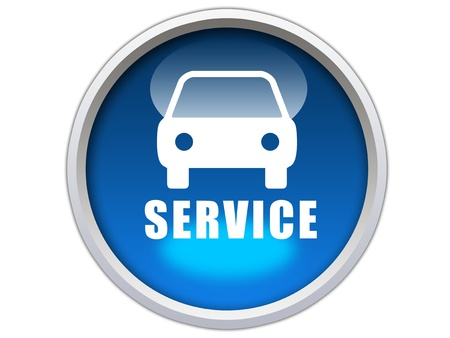 blue glossy button with white car icon and service word isolated over white background