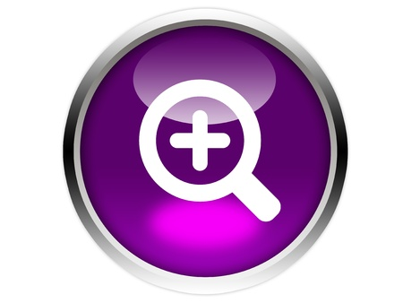 Magnifier round symbol on purple glossy button isolated over white background Stock Photo - 12603121