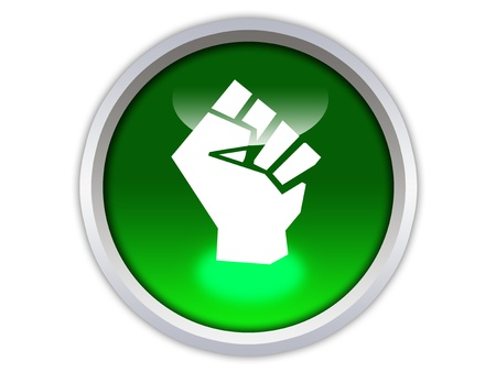 unite: unite symbol on green glossy button isolated over white background