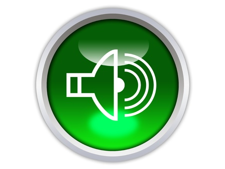loud speaker on green glossy button isolated over white background Stock Photo