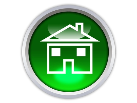home icon: home icon on green glossy button isolated over white background