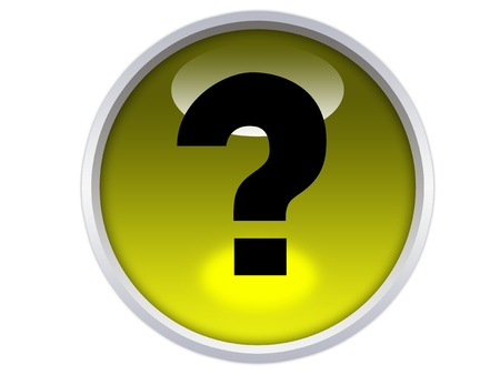 inquiry: question symbol on yellow glossy button isolated over white background