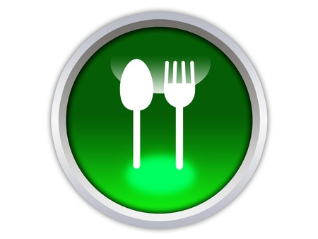 spoon and fork icon on green glossy button isolated over white background