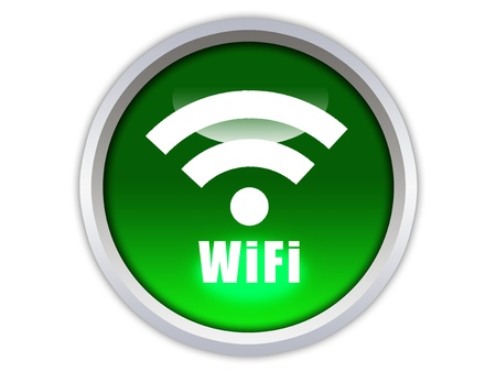 graphic glossy wifi icon on green button photo