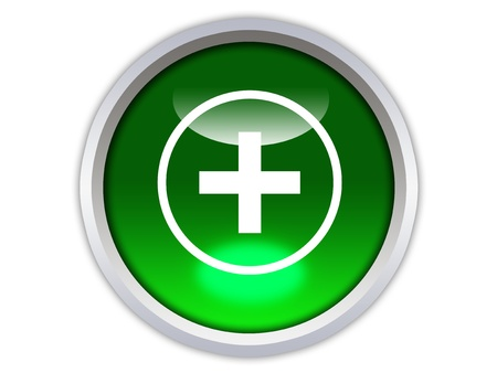 plus sign: plus symbol on green glossy button isolated over white background