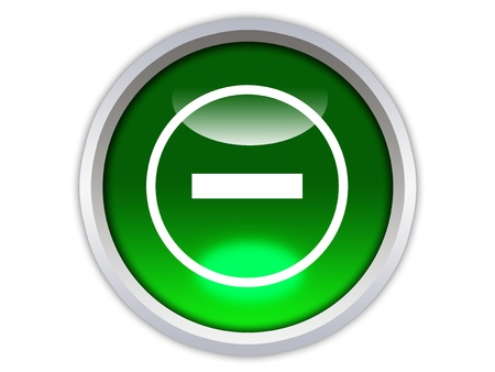 minor symbol on green glossy button isolated over white background photo