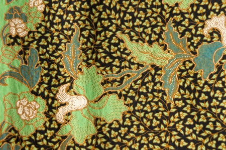 javanese: beautiful of batik with floral patterns Stock Photo